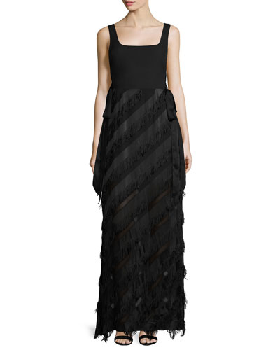Sleeveless Jersey & Fringe Combo Gown, Black