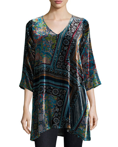Anita Silk Velvet Printed Tunic, Multi