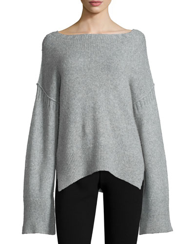 Harris Oversized Wool-Blend Sweater, Heather Gray