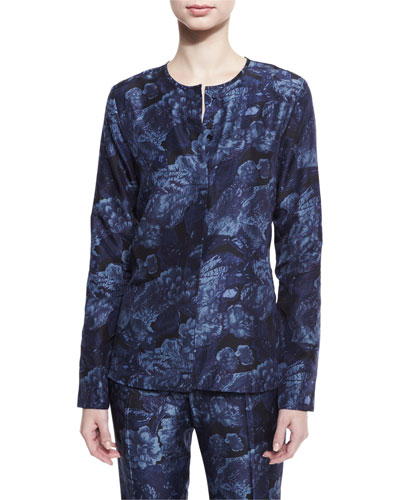 Davidson Long-Sleeve Floral Silk Blouse, Royal/Black