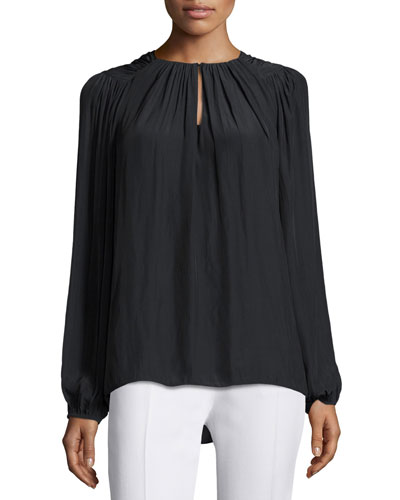 Marina Twist-Neck Top, Black