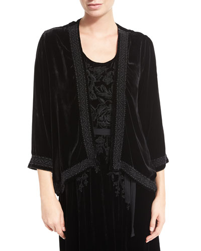 Talvia Embroidered Velvet Bolero Jacket