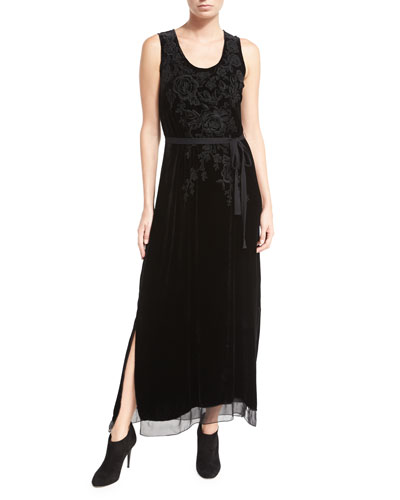 Talvia Sleeveless Floral-Embroidered Velvet Maxi Dress
