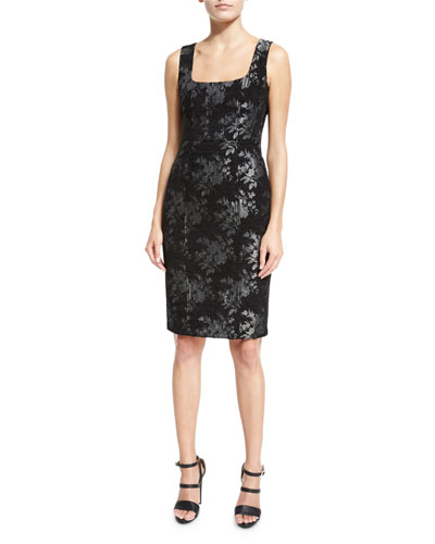 Sleeveless Floral Metallic Sheath Dress, Black