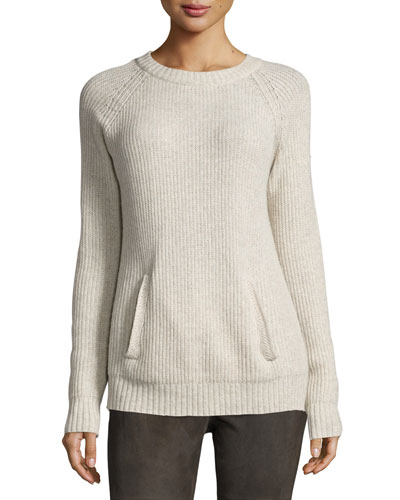 Long-Sleeve Wool-Blend Pullover, Oatmeal