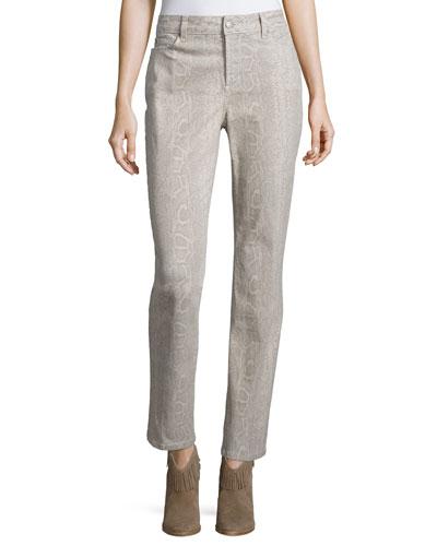 Sheri Python-Print Skinny Pants, Petite, Stone Gray