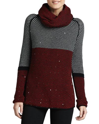 Colorblock Birdseye-Knit Sweater w/ Removable Scarf