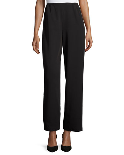 Full-Length Gabardine Travel Pants, Black, Petite