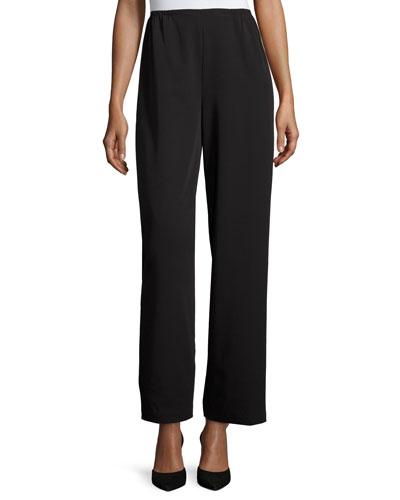 Full-Length Gabardine Travel Pants, Black, Plus Size