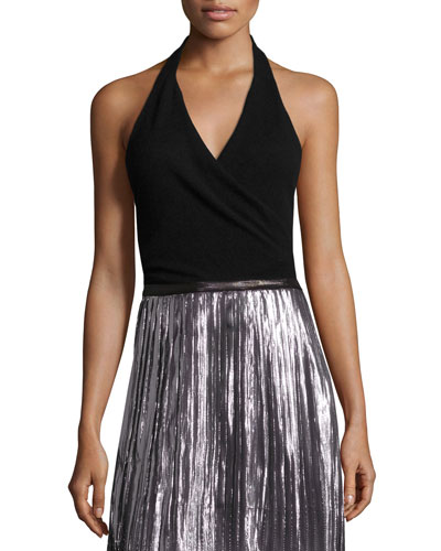 Sleeveless Surplice Halter Top, Black