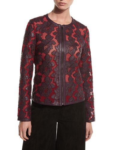 Floral Leather & Mesh Moto Jacket, Bordeaux/Red