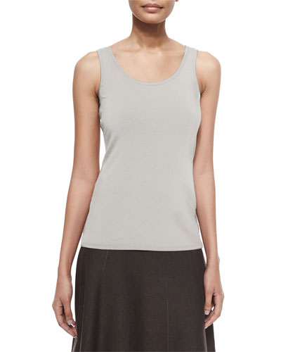 Perfect Jersey Scoop-Neck Tank, Silver Cloud, Plus Size