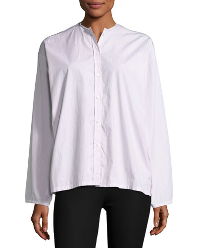 Albane Collarless Striped Cotton Button-Down Shirt, White