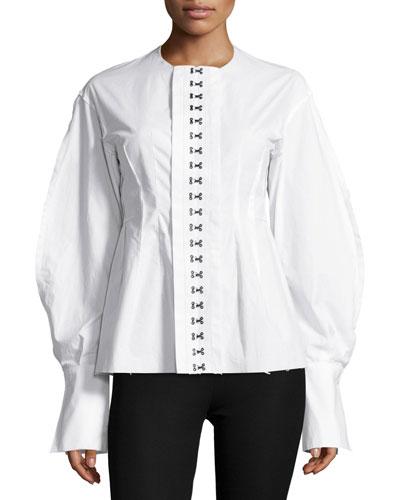 Franck Balloon-Sleeve Hook-Front Poplin Shirt, White