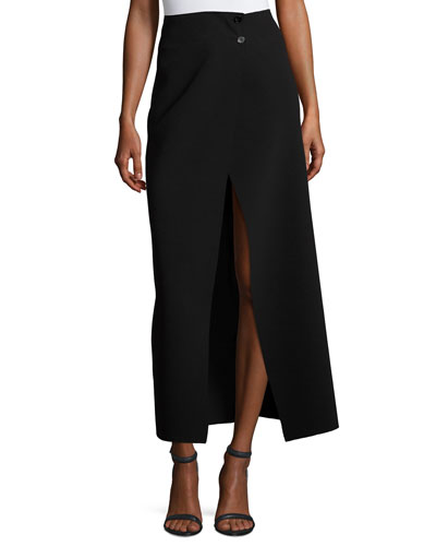 Ferdi Long Crepe Skirt w/ Thigh-High Slit, Black