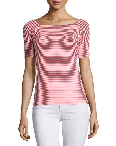 Striped Ballet-Neck Tee, Rich Red/Natural