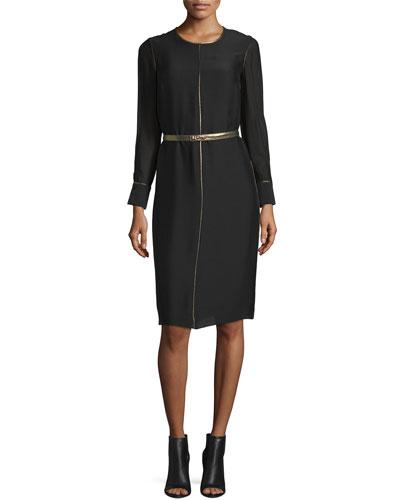 Annabelle Long-Sleeve Belted Dress, Black
