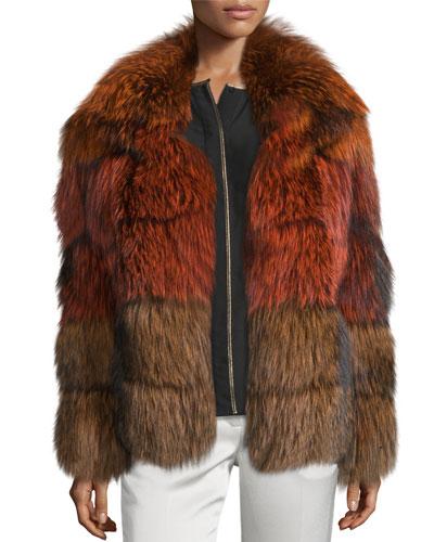 Vienna Banded Fur Colorblock Coat, Orange/Rust