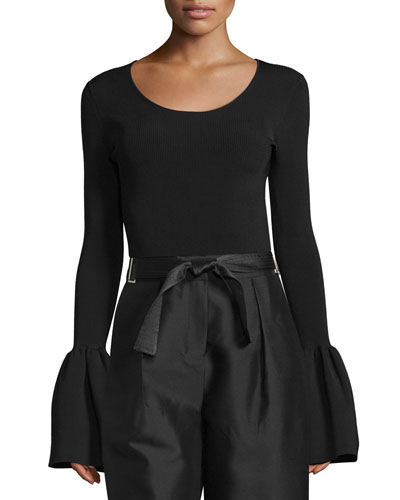 Willow Ribbed Bell-Sleeve Top, Black