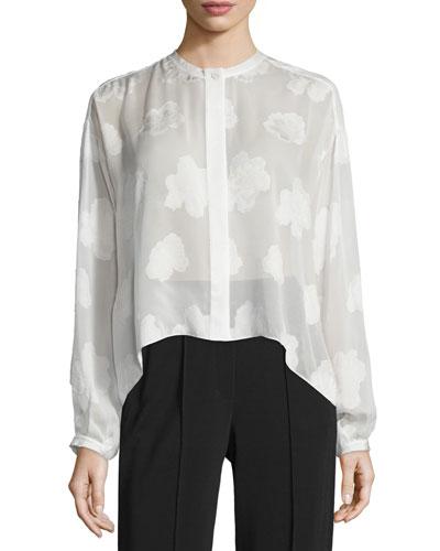 Long-Sleeve Silk Burnout Blouse, White