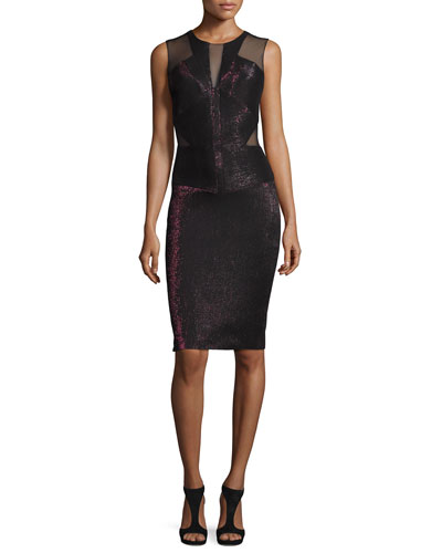 Sleeveless Metallic Mesh-Trim Sheath Dress, Wine