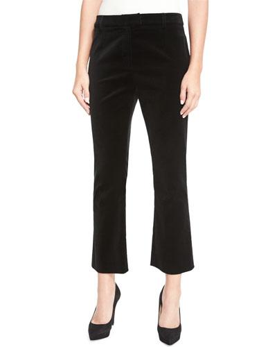 Velvet Cropped Pants, Noir