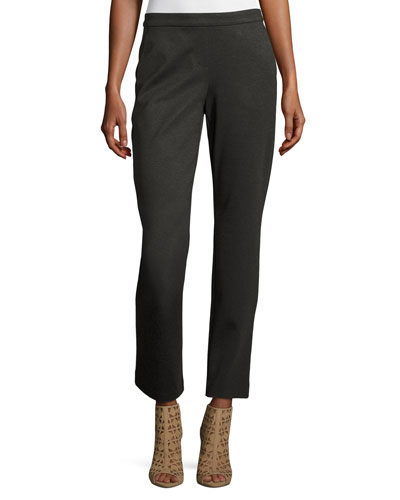 Ponte Trouser Ankle Pants, Phantom Heather