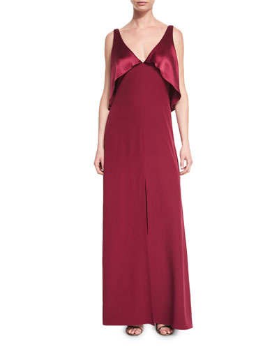 Sleeveless Satin-Popover Crepe Gown, Oxblood