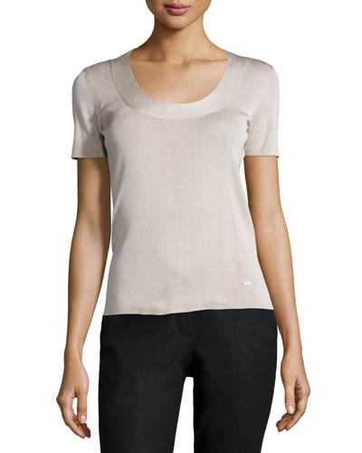 Short-Sleeve Silk Blouse, Ficelle