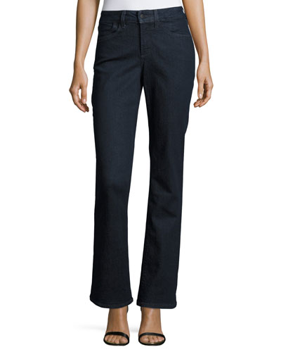 Barbara Boot-Cut Denim Jeans, Dark Enzyme