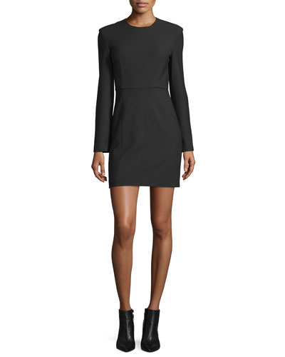 Rudi Long-Sleeve Crepe Open-Back Sheath Dress, Black