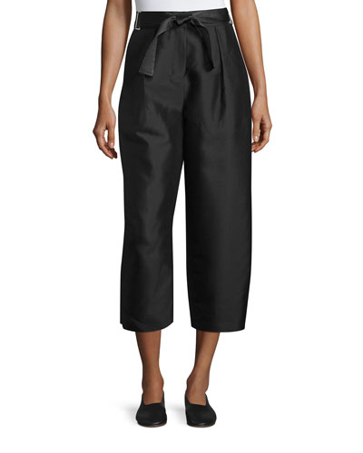 Anderson Belted Wide-Leg Pants, Black