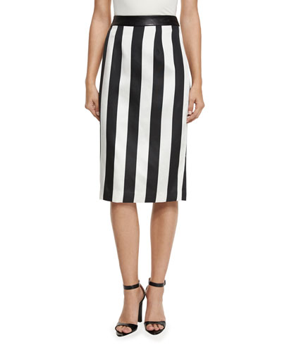 Striped Leather-Trim Pencil Skirt