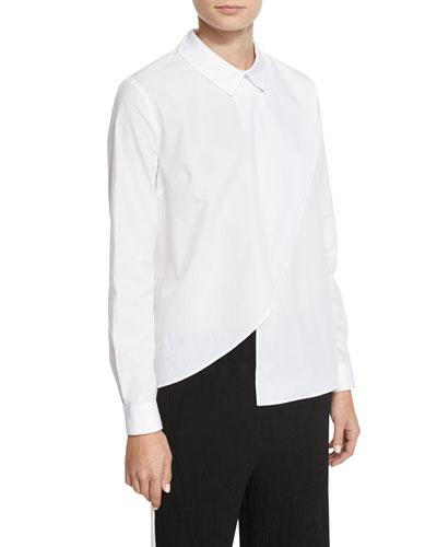 Asymmetric Long-Sleeve Poplin Shirt