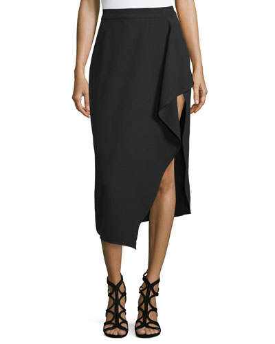 Asymmetric Draped Midi Skirt, Black