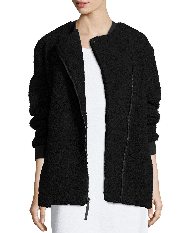 Boucle Asymmetric Zip Coat, Black