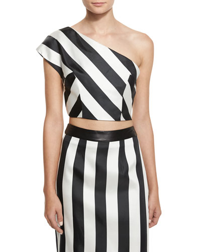 One-Shoulder Striped Crop Top