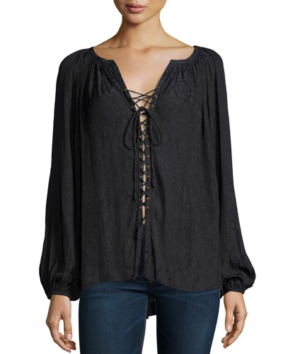 Patricia Snakeskin-Jacquard Lace-Up Top, Black