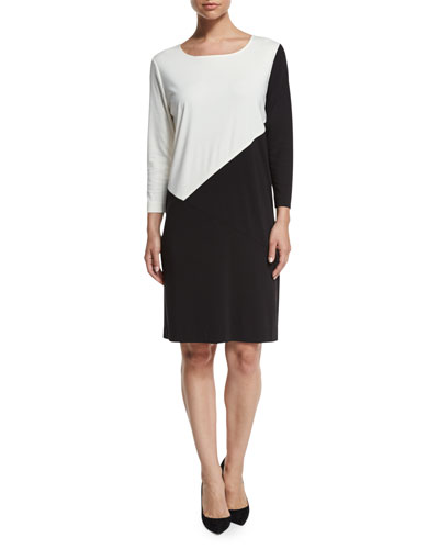 Seamed Colorblock Ponte Dress, Black/Ivory, Plus Size