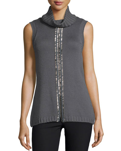 Leah Beaded Sleeveless Cowl-Neck Sweater, Gunmetal