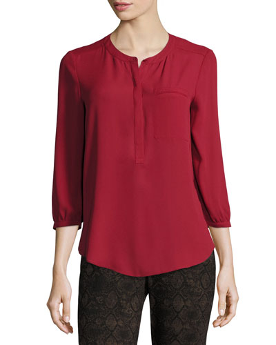 3/4-Sleeve Pleated-Back Blouse, Crimson Red