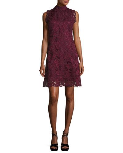 Latoya High-Neck Lace Mini Dress
