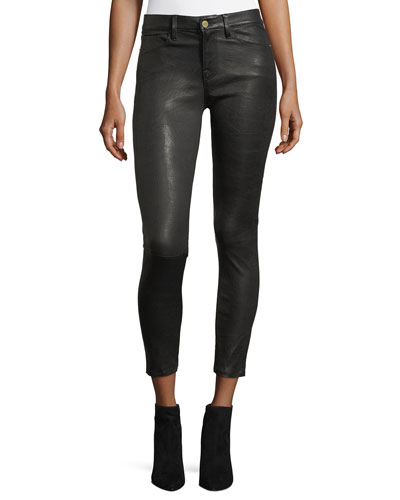 Le Skinny Leather Pants, Washed Black