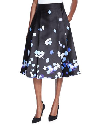 floral satin midi skirt, black
