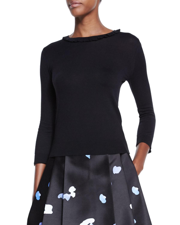 3/4-sleeve ruffle-trim sweater, black