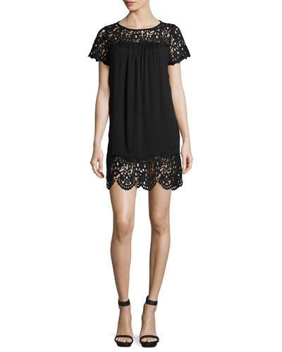 Lea Short-Sleeve Laser-Cut Dress, Caviar