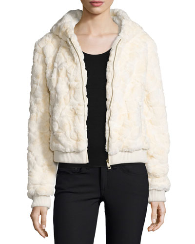 Faux-Fur Hooded Bomber Jacket