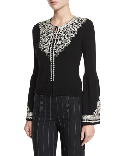 Bell-Sleeve Embroidered Wool Cardigan, Black