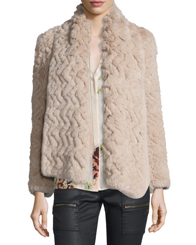 Sela Rabbit-Fur Tie-Neck Jacket,