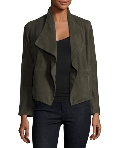 Olivine Suede Open-Front Jacket, Smokey Ash